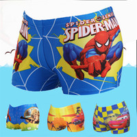 Wholesale Boys swimwear kids swimming trunks Children swimming shorts beach pants Minions Spiderman Swimsuit cartoon boys board shorts beachwear K402