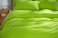 apple green comforter - 100 Cotton Apple green Bright Color bedding set twin single bed double queen size light green duvet cover satin stripe linen