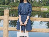 art institute - Long sleeved denim dress female Korean small fresh art student waist thin air Institute