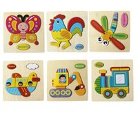 Wholesale Scolour Wooden Many Animals Kid Children Educational Toy Puzzle Cartoon Baby as gift