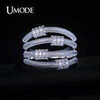 artistic wedding bands - UMODE Carpo Series Artistic Metal Lassos with Micro Cubic Zirconia Band Ring White Gold Plated Jewelry For Women UR0168B