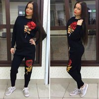 Wholesale Jojo New Arrival Autumn Winter Women Sport Suit D Rose Flower Sequin Women s Tracksuits Running Sets hoodie sweatshirt