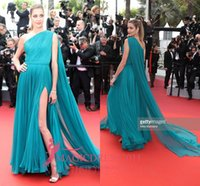 ana beatriz barros - Ana Beatriz Barros Hunter Chiffon One Shoulder Prom Formal Dresses Cannes Red Carpet Ruffled Celebrity Evening Gowns Custom Made