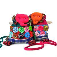 Wholesale National Characteristics Cotton Mini Drawstring Handbags Flowers Elephant Bag Cartoon Animal Shaped Portable Leisure Crossbody Bag for Women