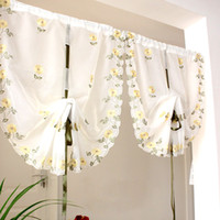 Wholesale Daisy Floral Voile Curtain Window Door Roman Curtain Embroidered Chrysanthemum Flower With Silk Ribbon for Home Decoeration