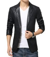 big leather jackets - Fashion men s Big size Leather jacket for men casaul slim pu leather Suit Jackets waterproof Blazer coats Asia M XXXXXXL