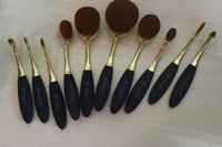 Wholesale Anastasia Metalized Golden Toothbrush Shaped Makeup Brushes Tool Face Foundation Powder Brush beautiful Gift Set