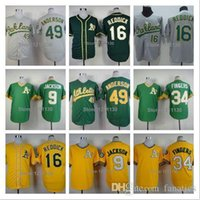 anderson baseball - 2015 Fashion New Oakland Athletics Brett Anderson Jersey Shirt Rollie Fingers Reggie Jackson Rollie Fingers Baseball Jerseys