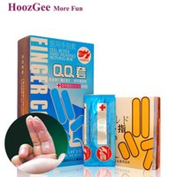 Wholesale HoozGee Pleasure More Finger Sleeve Condoms Sex Products Sexual Health Latex Condoms Mint Cold