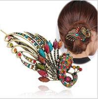 achat en gros de pince à cheveux de paon métallique-Boucles d'oreilles clips en cristal de strass