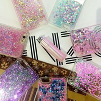 Wholesale Star Phone Batteries - IPhone7 Glitter Stars Dynamic Liquid Quicksand Hard Case Cover For iPhone 7 6s plus Transparent Clear Phone Case