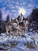 Wholesale HD Print Home decor Art Painting on canvas Snow Wolfs