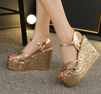 ankle tie wedge shoes - 2016 Newest Cross Tied Transparent Glitter Sequined Gold Silver Wedding Shoes Women High Heel Platform Wedge Sandals Size To