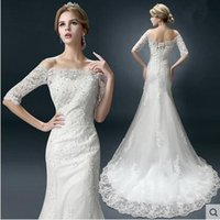 Wholesale The bride wedding dress the new wed dress show thin and fashion trailing and bateau