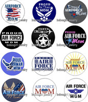 air force flags - AIR FORCE MOM glass Snap button Charm Popper for Snap Jewelry good quality Gl380 jewelry making