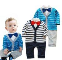 Wholesale Bebe baby boy fashion long sleeve style New baby boy clothing stripe suit kids clothes sets bebe clothing sets