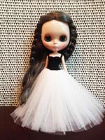 Wholesale D0381 New DIY inch cm Blythe Doll dress Accessories children gift Ballet dress black white color long type