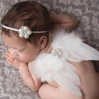Wholesale 2016 hot selling Newborn Baby Girl White Feather Angel Wing Rhinestone Headband Photography Prop