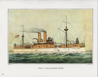 battleship maine - Currier Ives THE U S BATTLESHIP MAINE Pure Handicrafts oil painting On High Quality Canvas Home Wall Decor any customized size Available
