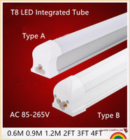 Wholesale 25PCS led tube lights FT FT FT W W W W W W Integrated T8 Tube Lights SMD2835 High Bright Frosted Transparent Cover AC V