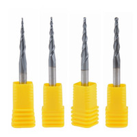 ball mill grinding - 4pcs Tapered Ball Nose End Mill D4 L F HRC55 solid carbide Coated cnc milling cutter engraving grinding bit