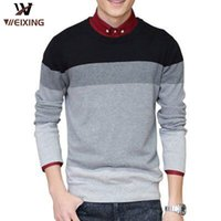 Wholesale Men s Sweater Autumn And Winter Thickening Fashion Striped Sweater Crewneck Set Head Sweater rong