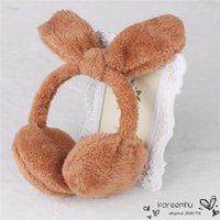 Wholesale Cache Oreille Winter Warm Women Earmuff Hot Colors Lovely Rabbit Pattern Lady Ears Muffs Cute Girls Soft Earlap Headband Random