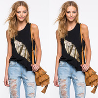 Wholesale Loose Tank Top Pattern - 2016 Hot Sale Black Sleeveless Gold Feather Pattern Loose T Shirt For Gil Crew Neck Casual Lady Vest Cheap Tank Tops Free Shipping