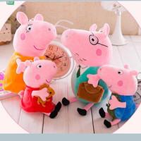 venda por atacado peppa pig toys-4pcs 1set encantadores famílias porco cor de rosa de pelúcia mãe filme boneca de brinquedo e 30 centímetros de tamanho pai Peppa e George 19 centímetros