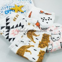 animal print hand towels - Lovely New Super soft print Muslin cotton gauze layers Baby hand towel newborn handkerchief Infant face small towel M225