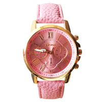 Wholesale fashion women dress geneva watch women rose gold color Fashion Watch women dress watches leather strap watches