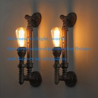 best rust - Best Price Industrial Rustic Steampunk METAL PIPE Edison Bulb Vintage Wall Lamps Balcony with E27 bulb Rust wall sconce