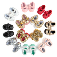 Wholesale Bow Baby Shoes Moccasins Soft Sole Leather Infant Shoes Girls Boys Moccs Baby First Walkers Kids Children Footwear White Black