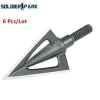 aluminum training blades - 6 Tactical Combat Training Shooting Blades Fixed Arrowheads Outdoor Stainless Steel Universal Broadheads Arrow Tips