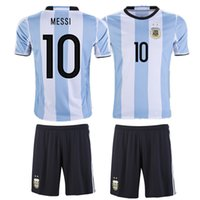 Wholesale Thailand Quality Copa America Argentina national uniform home men jersey Messi short sleeves suit