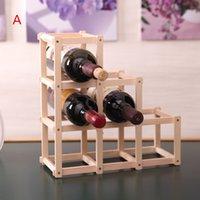Precio de Bastidores de almacenamiento de vino-Gabinete plegable creativo de los sostenedores del estante del vino de la madera sólida al por mayor-Hogar 3 6 10 Organizador del almacenaje del soporte de exhibición de las botellas Estilo europeo WZ