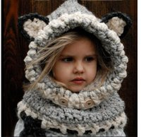 baby fitted hats - Hot Korean Winter Childrens Warm Neck Wrap Fox Scarf Caps Cute Children Wool Knitted Hats Baby Girls Shawls Hooded Cowl Beanie Caps Hat