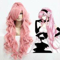 90cm Girl Under $10 Pink Cosplay Wig Super Long Wavy with Ponitail Synthetic Hair Wigs 90cm Long VOCALOID-Megurine Luka Costume Wigs ePacket Free