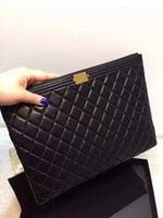 Wholesale top quality women lambskin boy clutch purse luxury original lambskin boy cosmetic bag ipad bag women evening bag