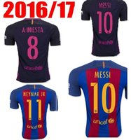 Wholesale 2016 MESSI ARDA A INIESTA SUAREZ SERGIO PIQUE I RAKITIC NEYMAR JR soccer jersey home and away free delivery