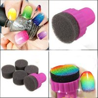 Wholesale 1Set Women Make Up Cosmetic Tool Nail Art Sponge Stamp Stamping Polish Template Transfer for Salon DIY Design Nail Art Accessory
