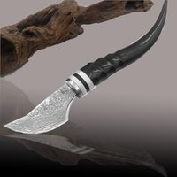 Wholesale High quality Damascus handmade hunting knife Damascus steel Horn cavel handle hunting survival knives camping faca