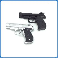 Wholesale Black Silver Beretta M92G CQB Pistol Style Refillable Cigar Cigarette Windproof Torch Butane Gas Gun Lighter