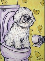 bathroom oil - DOBERMAN PINSCHER dog bathroom wall art gift new anim Hand Painted Folk Pop Art Oil Painting On Canvas any customized size accepted sch