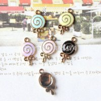 assorted charms candy - Assorted Color Oil Drop Lolipop Candy with Knot Bow Alloy Enamel Jewelry Charms Gold Tone Bracelet Charm