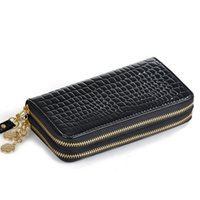 big lots credit - 250pcs Luxury Double Zipper Day Clutch Fashion Big Capacity Ladies Long Purses high quality patent pu leather women wallets