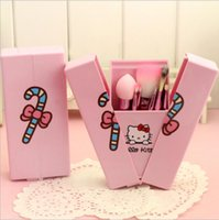 Cheap Hello Kitty 8Pcs Set Makeup Brushes Set With Mirror Professional Makeup Foundation Cosmetic Tools Portable Storage Box Full Set