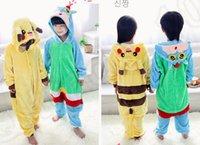 venda por atacado pyjama-Crianças poke Pikachu Pijamas Kigurumi Pijamas Onesie Pijamas Jumpsuits Baby Flannel Pijamas de Inverno Onesies Cosplay Pijamas KKA721