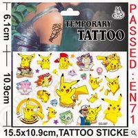 Wholesale Poke Mon Pokemon Go Tattoo Stickers Children Cartoon Pikachu Charmander Jeni Turtle Tattoo Stickers x10 cm CCA4700