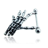 Wholesale Brand New Fashion Nipple Ring Silver Plated Retro Black Skeleton Hands Body Piercing Jewelry